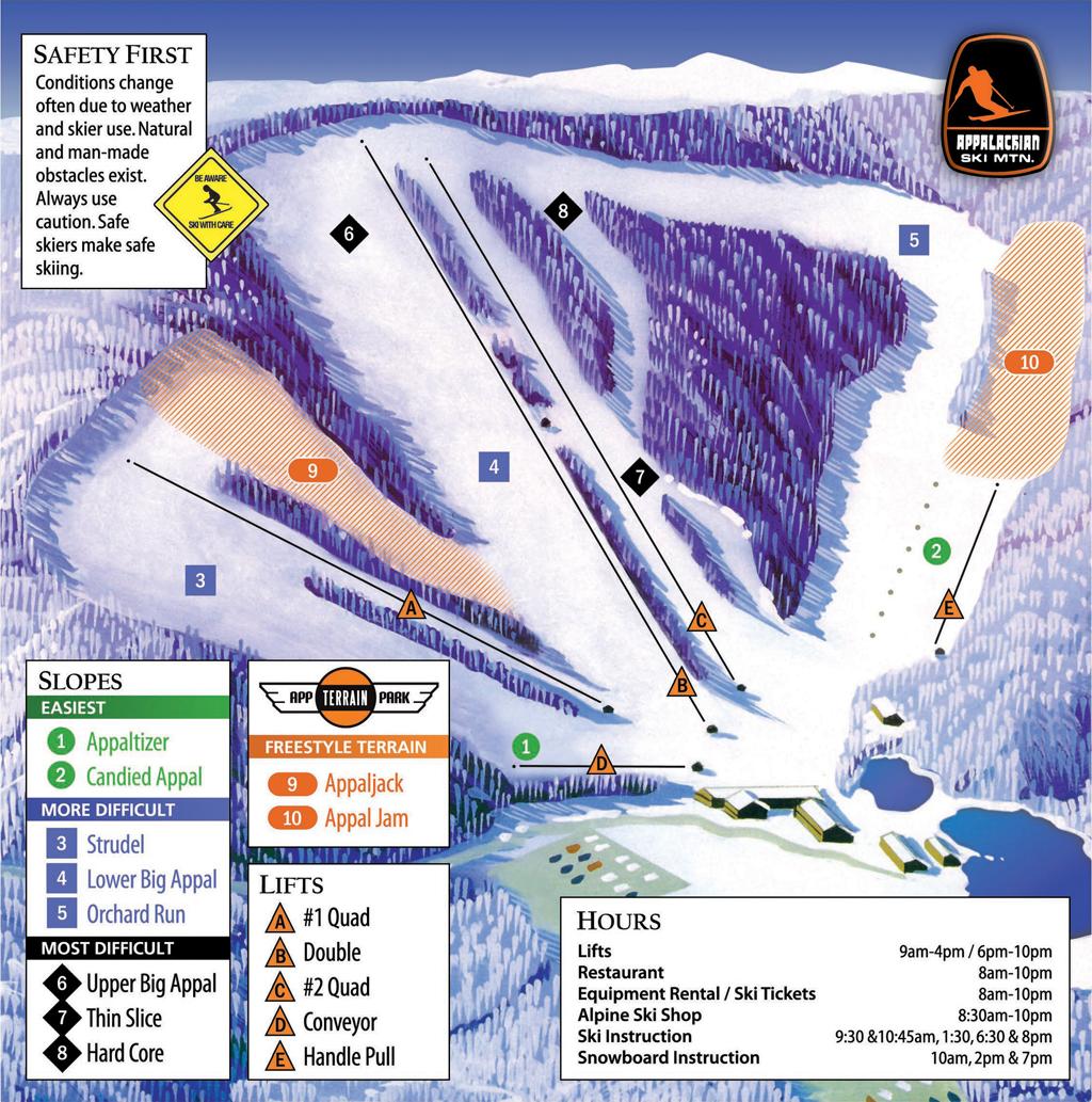 Appalachian Ski Mountain Trail Map